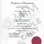 Certificate of Registration for compliance to ISO 9001:2008