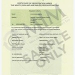 Certificate of Registration Under the Waste (England and Wales) Regulations 2011