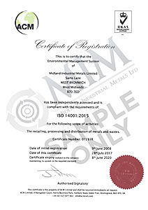 Certificate of Registration for compliance to ISO 14001:2015